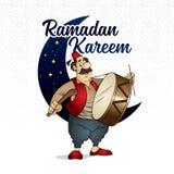 Illustrazione del carattere di vettore di Ramadan Drummer Fotografia Stock Libera da Diritti