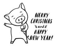 Illustrazione del carattere divertente dell'emoticon del maiale Cantante del maiale con il microfono Illustrazione disegnata a ma illustrazione di stock