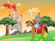 Illustrazione del cavaliere e del drago illustrazione vettoriale