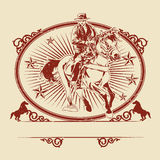 Illustrazione del cavallo da equitazione dei cowboy Fotografia Stock Libera da Diritti