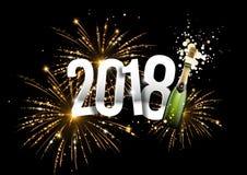 illustrazione del champagne 2018 e dei fuochi d'artificio Immagine Stock