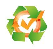 illustrazione del ciclo del segno di spunta e ricicli Fotografia Stock