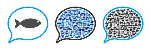 Illustrazione del collage di vettore del pallone di menzione del pesce Immagine Stock Libera da Diritti