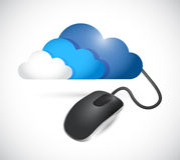 Illustrazione del collegamento del topo del computer e della nuvola Fotografia Stock Libera da Diritti