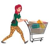 Illustrazione del compratore Ragazza con il carrello di acquisto Carattere di vettore per la vostra progettazione Fotografia Stock Libera da Diritti
