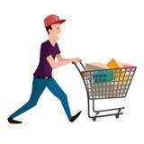 Illustrazione del compratore Uomo con il carrello di acquisto Carattere di vettore per la vostra progettazione Immagine Stock Libera da Diritti