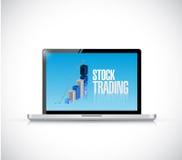 Illustrazione del computer portatile del grafico commerciale di commercio di riserva Immagine Stock