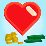 Illustrazione del concetto dei soldi e sano, cuore con la fasciatura Immagini Stock