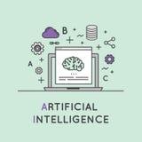 Illustrazione del concetto di apprendimento automatico e di intelligenza artificiale Fotografie Stock