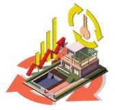 Illustrazione del concetto grafico dell'agente immobiliare di informazioni Fotografia Stock Libera da Diritti