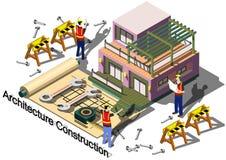 Illustrazione del concetto grafico della costruzione di architettura di informazioni Fotografia Stock