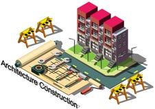Illustrazione del concetto grafico della costruzione di architettura di informazioni Fotografie Stock