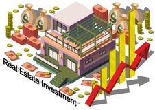 Illustrazione del concetto grafico di investimento di bene immobile di informazioni Immagine Stock