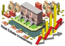 Illustrazione del concetto grafico di investimento di bene immobile di informazioni Fotografia Stock Libera da Diritti