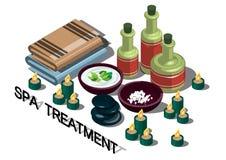 Illustrazione del concetto grafico di trattamento della stazione termale di informazioni Fotografia Stock