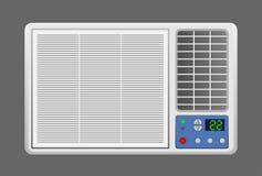 Illustrazione del condizionatore d'aria della finestra su fondo grigio immagine stock
