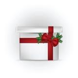 Illustrazione del contenitore di regalo con l'arco rosso Fotografie Stock Libere da Diritti