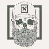 Illustrazione del cranio con una barba che indossa un cappuccio Immagini Stock