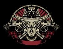 Illustrazione del cranio dello sceriffo Immagini Stock