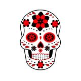 Illustrazione del cranio Giorno dei morti Cranio con i fiori cranio royalty illustrazione gratis