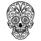 Illustrazione del cranio messicano dello zucchero Giorno dei morti Dia De Los Muertos Progetti l'elemento per il logo, l'etichett Fotografie Stock Libere da Diritti