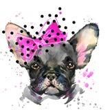 Illustrazione del cucciolo di cane dell'acquerello Razza del bulldog francese illustrazione di stock