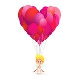 Illustrazione del cupido sveglio che tiene molti palloni nella forma del cuore Fotografia Stock Libera da Diritti