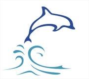 Illustrazione del delfino nelle righe semplici Immagini Stock Libere da Diritti