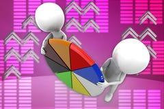 illustrazione del diagramma a torta dell'uomo 3D Fotografia Stock Libera da Diritti