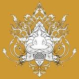 Illustrazione del disegno di scarabocchio di meditazione di Buddha con il tatuaggio tailandese dell'ornamento di stile Immagini Stock