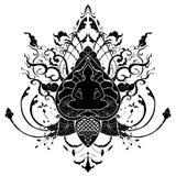 Illustrazione del disegno di scarabocchio di meditazione di Buddha con il tatuaggio tailandese dell'ornamento di stile Immagini Stock Libere da Diritti