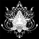Illustrazione del disegno di scarabocchio di meditazione di Buddha con il tatuaggio tailandese dell'ornamento di stile Fotografia Stock
