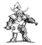 Illustrazione del disegno di vettore del guerriero del nano di fantasia in Armor With Axes illustrazione vettoriale