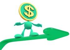 Illustrazione del dollaro crescente illustrazione di stock