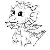 Illustrazione del drago sveglio del bambino del fumetto Fotografie Stock