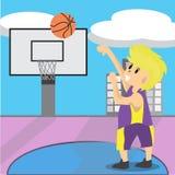 Illustrazione del fondo del campo da pallacanestro di arte del fumetto di progettazione di carattere di pallacanestro del gioco d illustrazione di stock
