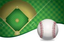 Illustrazione del fondo del campo di baseball e di baseball Fotografie Stock Libere da Diritti