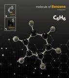 Illustrazione del fondo del nero della molecola del benzene Immagini Stock