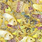 Illustrazione del fondo dell'acquerello del pesce di mare dell'oro illustrazione vettoriale