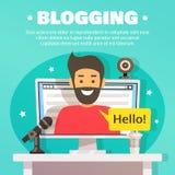Illustrazione del fondo dell'area di lavoro di blogger Fotografia Stock