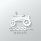 Illustrazione del fondo della carta del taglio del trattore agricolo Fotografie Stock Libere da Diritti
