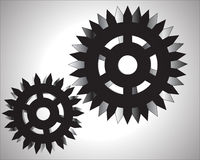 Illustrazione del fondo di bianco del sistema delle ruote di ingranaggio Fotografia Stock