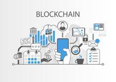Illustrazione del fondo di Blockchain con lo smartphone e le icone della tenuta della mano illustrazione di stock