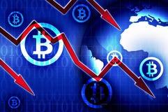 Illustrazione del fondo di crisi di cambio di Bitcoin Fotografie Stock