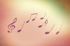 Illustrazione del fondo di musica con le note fatte con la tecnica granulare Fotografia Stock