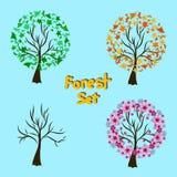 Illustrazione del fondo di quattro alberi di stagioni Illustrazione di Stock