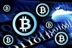 Illustrazione del fondo di valuta di Bitcoin blu scuro Immagine Stock Libera da Diritti