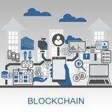 Illustrazione del fondo di vettore di Blockchain con lo smartphone e le icone della tenuta della mano Fotografie Stock Libere da Diritti