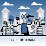 Illustrazione del fondo di vettore di Blockchain con lo smartphone e le icone della tenuta della mano Fotografie Stock