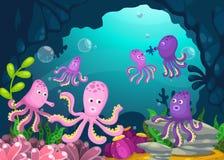 Illustrazione del fondo subacqueo del mare illustrazione di stock